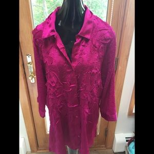 Chico's Fuscia Embroidered Flower Shirt Top Sz XL
